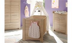 Babybett Carlotta Kinderbett Bett Eiche sägerau hell höhenverstellbar 70x140 cm