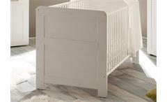 Babybett Landi Kinderbett Bett Pinie Struktur weiß höhenverstellbar 70x140 cm