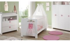 Babybett Olivia Kinderbett Sprossenbett Gitterbett Babyzimmer in weiß 70x140 cm