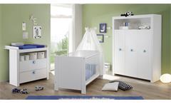 Babybett Olivia Kinderbett Bett weiß höhenverstellbar Schlupfsprossen 70x140 cm