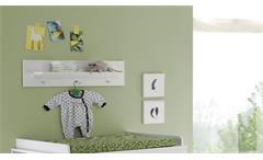 Wandboard Olivia weißes Wandregal mit 3 Kleiderhaken
