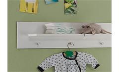 Wandboard Olivia Wandregal Hängeelement Hängeboard Regal weiß 3 Garderobenknöpfe