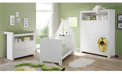 Babyzimmer Set 3-Teilig Olivia Babybett Schrank Wickelkommode Babymöbel in weiß