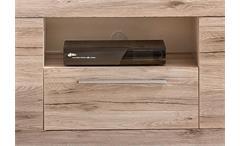 TV Unterteil PASSAT Unterschrank Lowboard in Eiche sand Nachbildung innen weiß
