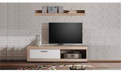 TV-Board OCEAN mit Wandboard Sonoma Eiche und Weiß