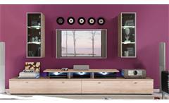 Wohnwand Tetis Anbauwand 2 TV-Boards Aufsatz und 2 Vitrinen San Remo Eiche