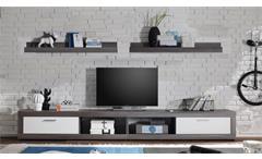 Wohnkombination TV-Board Ocean Lowboard Rauchsilber und Weiß Wandregal für CD´s