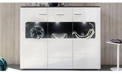 Highboard Locky Schrank in weiß Hochglanz schwarz inkl. LED Kommode Wohnzimmer