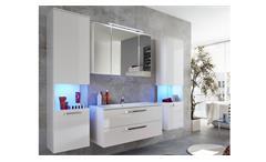 Badezimmer Set Sky weiß Hochglanz Badschränke Bad inklusive Waschbecken Badmöbel