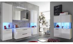 Badezimmer Set Sky weiß Hochglanz Badmöbel Bad inklusive Waschbecken Badschränke