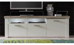 TV-Board ELIA Pinie Struktur weiß und Eiche San Remo Sand TV Unterteil Lowboard