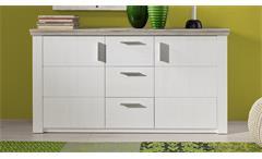 Sideboard ELIA in Pinie Struktur weiß und Eiche San Remo Sand Kommode Wohnzimmer