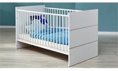 Babybett Leony Kinderbett Bett weiß silber mit Schlupfsprossen Gitterbett 70x140