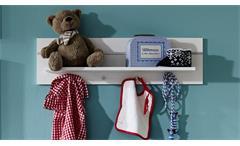 Wandboard Leony weiß silber Ablage Wandregal mit Garderobenknöpfen Babyzimmer
