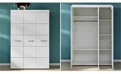 Babyzimmer Leony Wickelkommode Babybett Kleiderschrank in weiß silber 3-teilig