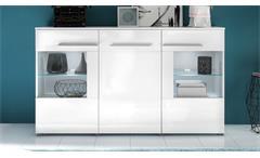 Sideboard Vision in weiß Hochglanz mit LED Kommode Vitrinenschrank Wohnzimmer