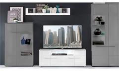 TV Lowboard 2 Vision in weiß Hochglanz mit Wandboard  TV Board Wohnzimmer