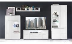 Wohnwand 1 Vision Anbauwand in weiß Hochglanz mit LED Wohnzimmer