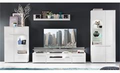 Wohnwand 2 Vision in weiß Hochglanz mit LED Anbauwand Wohnzimmer