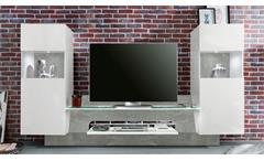 Mediawand Air Medienwand in weiß Glanz und Beton grey inkl. LED TV-Wand Wohnwand