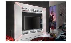 Mediawand Race Medienwand weiß Hochglanz inkl. RGB Beleuchtung Wohnwand TV-Wand