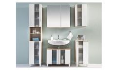 Badezimmer Set Spa weiß Glanz Beton Industry Badmöbel Badschränke Bad