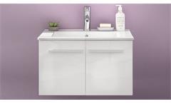 Waschbeckenunterschrank TTB-03 weiß Glanz Unterschrank mit Porzellan-Waschbecken