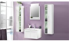 Badezimmer Set TTB-03 weiß Glanz Badmöbel inklusive Porzellan-Waschbecken 4-tlg