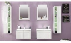 Badezimmer Set TTB-03 weiß Glanz 6-tlg Badmöbel inklusive Porzellan-Waschbecken