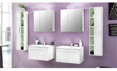 Badezimmer Set TTB-03 weiß Glanz inklusive Porzellan-Waschbecken 6-tlg Badmöbel