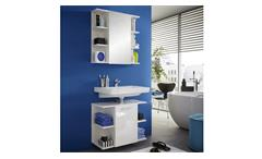 Badezimmer Set Keny weiß Hochglanz Badmöbel Badschränke Spiegelschrank