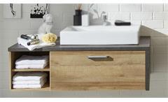 Waschbeckenunterschrank 1 Bahia Badschrank Eiche Riviera Honig und Beton dunkel