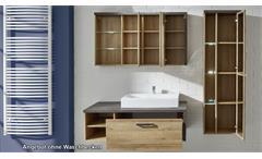 Badezimmer Set 1 Bahia Eiche Riviera Honig und Beton dunkel Badmöbel Bad