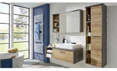 Badezimmer Set 2 Bahia mit Waschbecken Eiche Riviera Honig und Beton dunkel