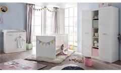 Babyzimmer Rona in weiß Dekor Babymöbel Gitterbett Wickelkommode Schrank