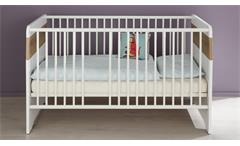 Babybett Bastos Gitterbett in Eiche Riviera Honig und weiß Kinderbett Babyzimmer