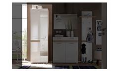 Garderobenschrank SetOne Hochschrank Garderobe in Eiche San Remo weiß Hochglanz