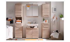 Badezimmer 2 Malea Badmöbel Set in Eiche San Remo hell Tiefzieh Spiegel 5-teilig