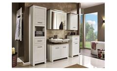 Badezimmer Lotte Badmöbel Set in Pinie weiß und Nelson Eiche braun