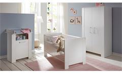 Babyzimmer Miri 3-tlg Set Babymöbel Gitterbett Wickeltisch Pinie Struktur weiß