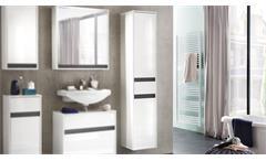 Bad Hochschrank Sol Badschrank Badmöbel Badezimmer in weiß Melamin Hochglanz