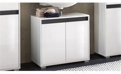 Waschbeckenunterschrank Sol Badschrank Badmöbel weiß Melamin Hochglanz