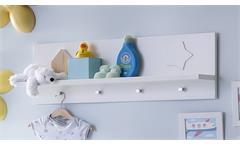 Wandboard Stars Regal Wandregal Garderobenknöpfe Babyzimmer weiß matt tiefzieh