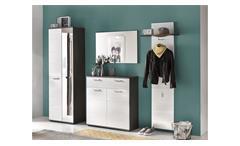 Garderobenset Smart Garderobe Flurmöbel mit Spiegel in weiß Hochglanz und grau