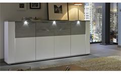 Sideboard Paris Kommode Anrichte Schrank in weiß und Beton Industry mit LED