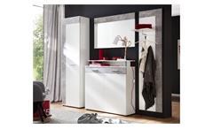 Garderobenset Jack Schrank Paneel Spiegel Kommode Flurmöbel in weiß Stone grau