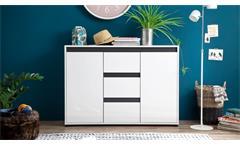Sideboard 2 Sol Anrichte Kommode Schrank weiß Hochglanz Lack grau oder Alteiche