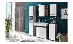 Badezimmerschrank Nano Kommode Badmöbel in weiß Hochglanz und Beton Stone