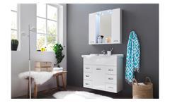 Badezimmer Set Aqua Badmöbel in weiß Hochglanz Lack mit Waschbecken und LED