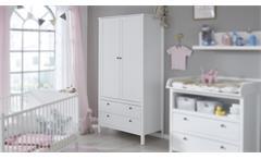 Kleiderschrank Ole Schrank Drehtürenschrank für Babyzimmer in weiß 91x192 cm